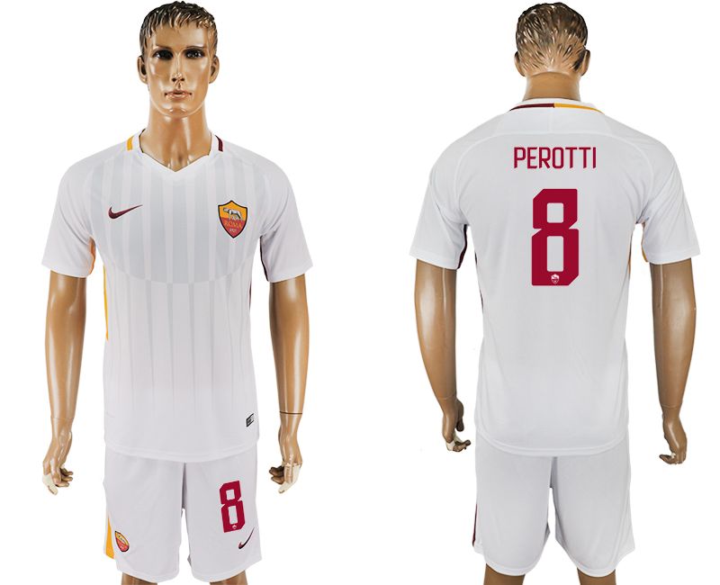 Men 2017-2018 club Rome away 8 white soccer jersey