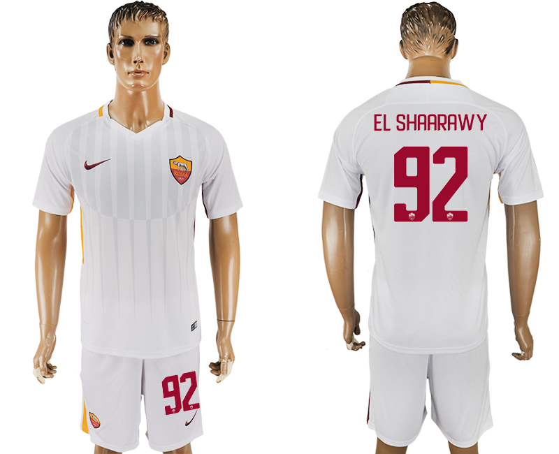 Men 2017-2018 club Rome away 92 white soccer jersey