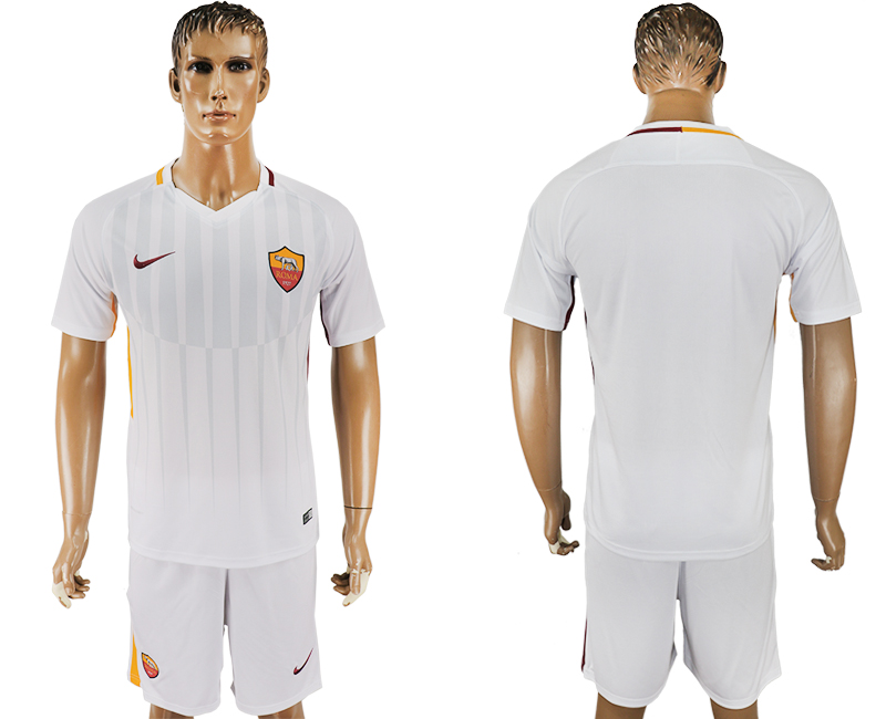 Men 2017-2018 club Rome away blank white soccer jersey