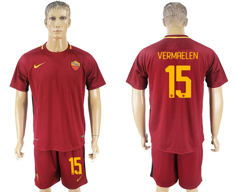 Men 2017-2018 club Rome home 15 red soccer jersey