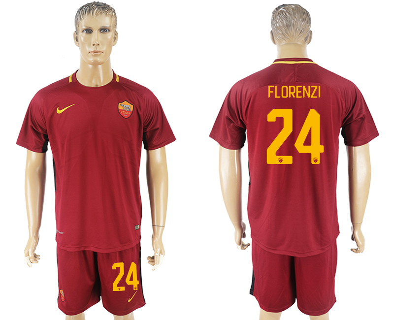 Men 2017-2018 club Rome home 24 red soccer jersey