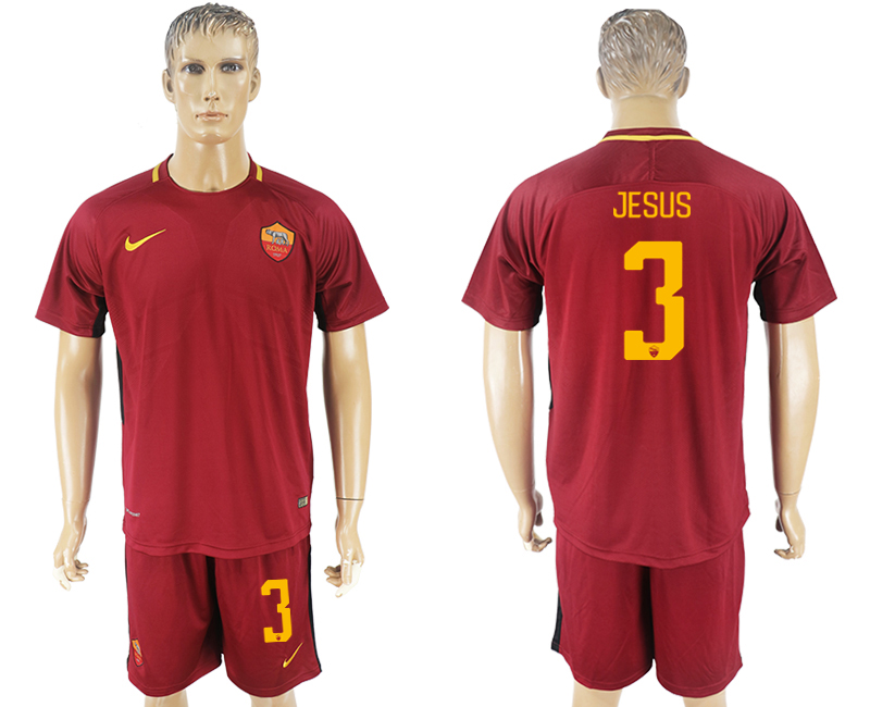 Men 2017-2018 club Rome home 3 red soccer jersey