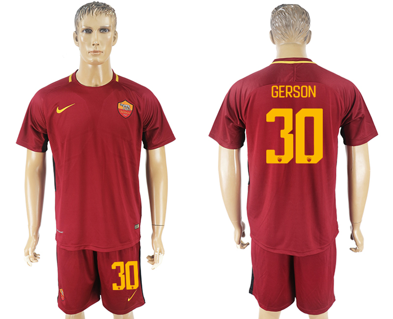 Men 2017-2018 club Rome home 30 red soccer jersey