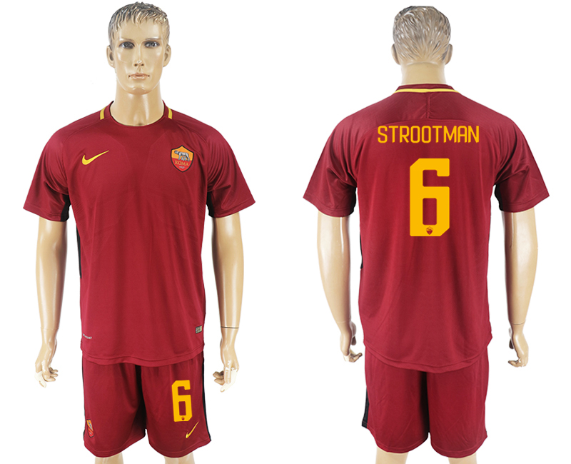 Men 2017-2018 club Rome home 6 red soccer jersey