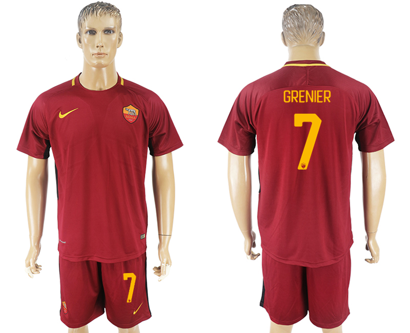 Men 2017-2018 club Rome home 7 red soccer jersey