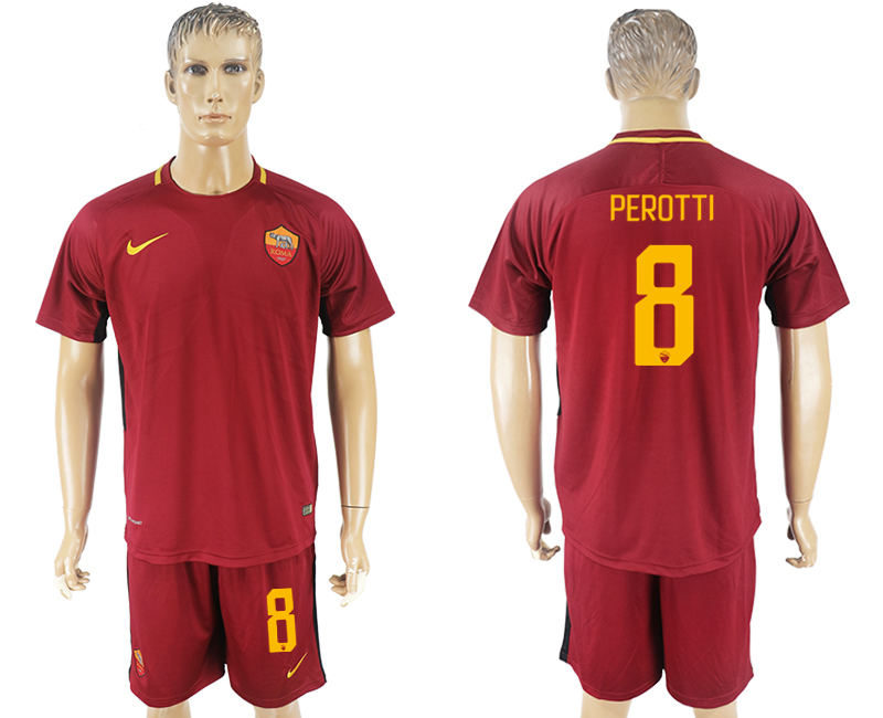 Men 2017-2018 club Rome home 8 red soccer jersey