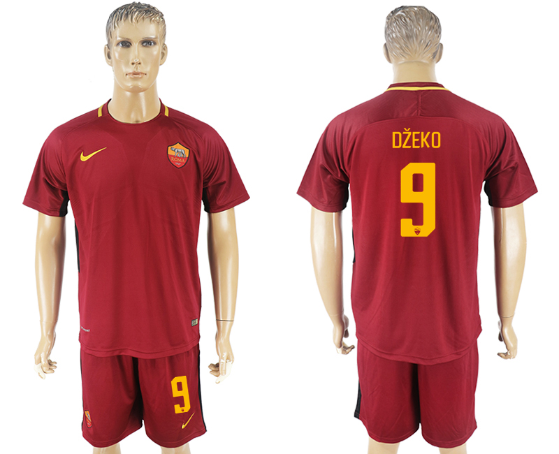 Men 2017-2018 club Rome home 9 red soccer jersey