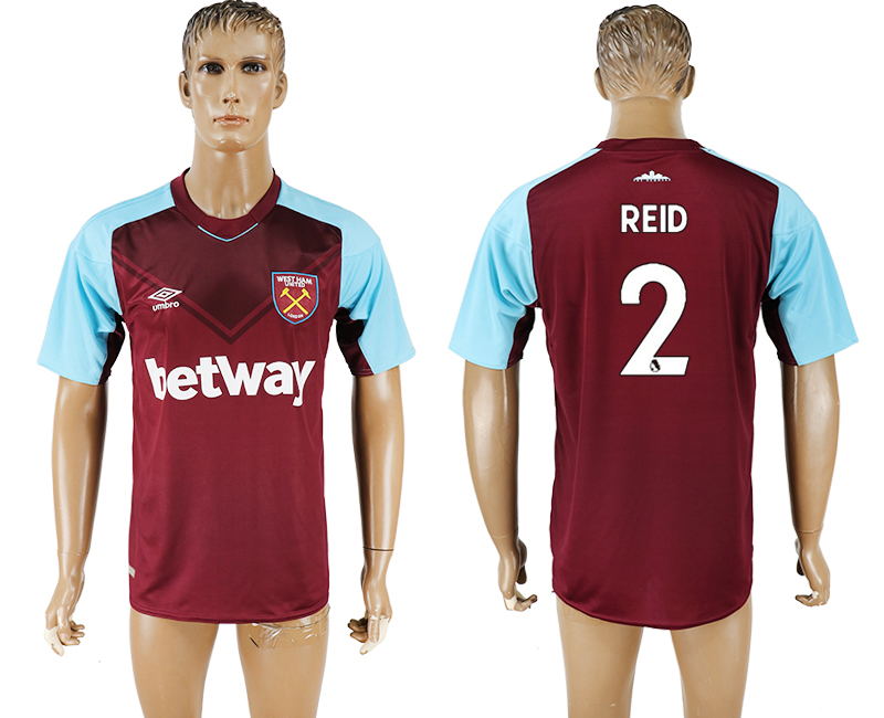 Men 2017-2018 club West ham at home 2 red aaa version soccer jersey