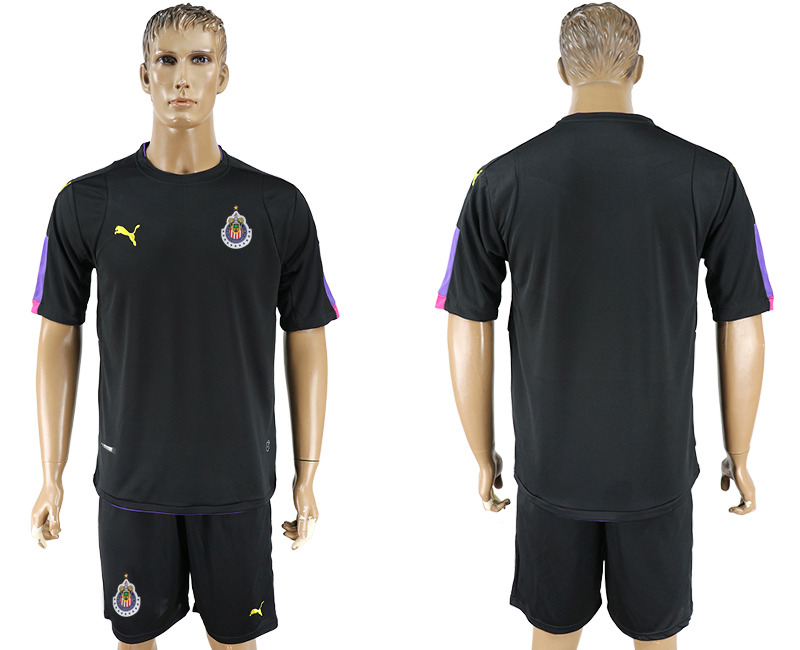 Men 2017-2018 club guadalajara black goalkeeper blank soccer jersey