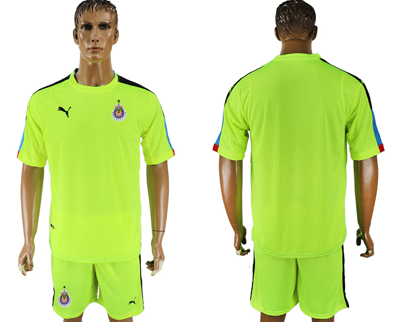 Men 2017-2018 club guadalajara fluorescent green goalkeeper blank soccer jersey