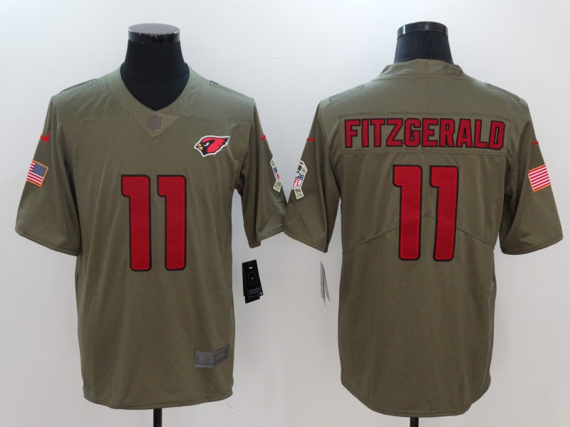 Men Arizona Cardinals 11 Fitzgerald Nike Olive Salute To Service Limited NFL Jerseys