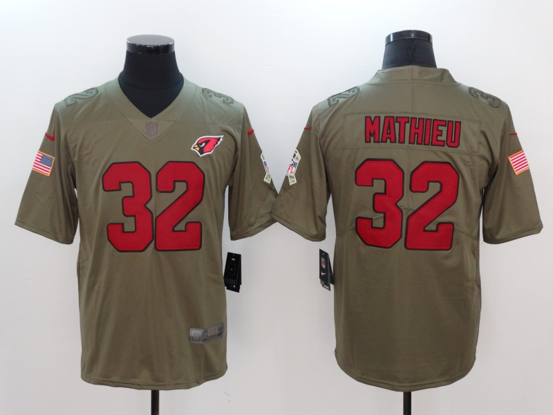 Men Arizona Cardinals 32 Mathieu Nike Olive Salute To Service Limited NFL Jerseys