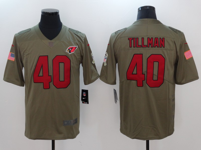 Men Arizona Cardinals 40 Tillman Nike Olive Salute To Service Limited NFL Jerseys