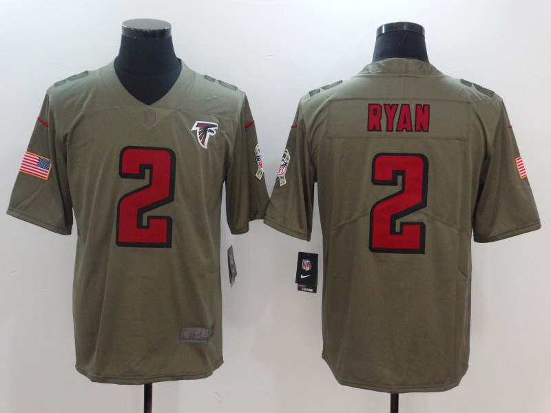 Men Atlanta Falcons 2 Ryan Nike Olive Salute To Service Limited NFL Jerseys