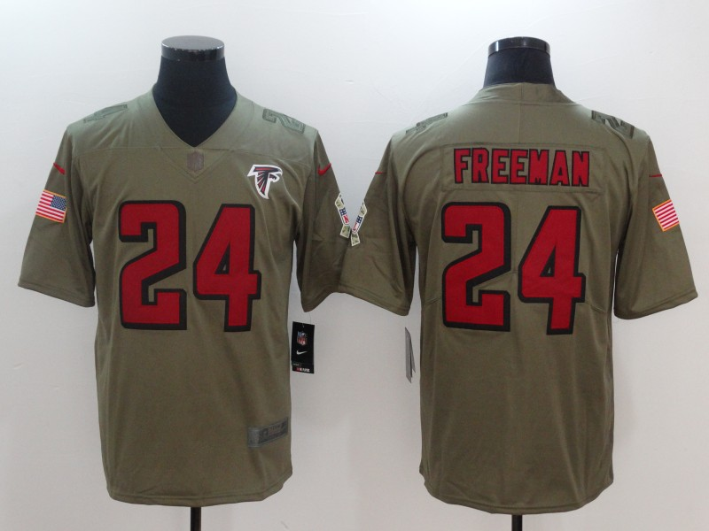Men Atlanta Falcons 24 Freeman Nike Olive Salute To Service Limited NFL Jerseys