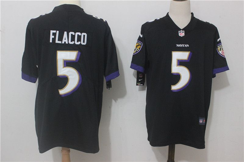 Men Baltimore Ravens 5 Flacco Black Nike Vapor Untouchable Limited NFL Jerseys