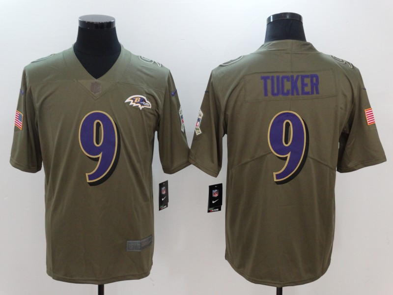 Men Baltimore Ravens 9 Tucker Nike Olive Salute To Service Limited NFL Jerseys