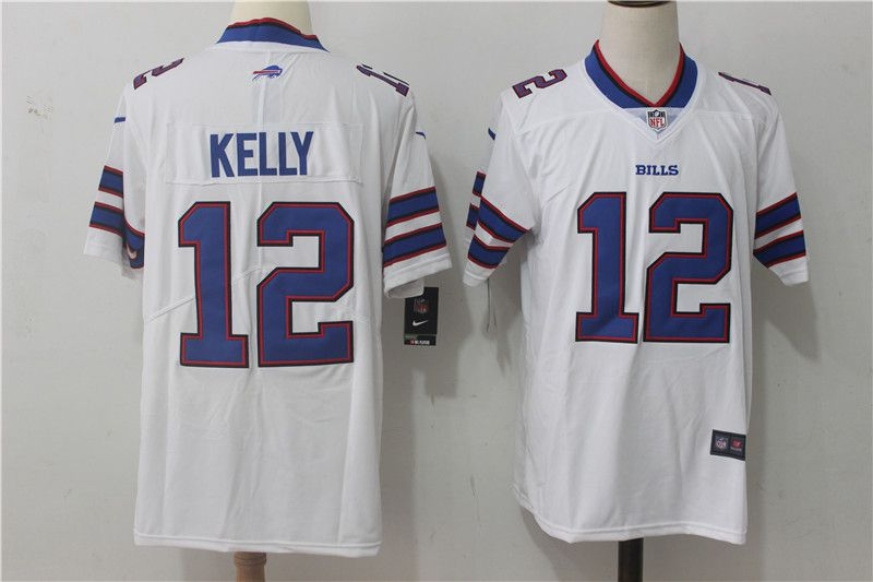 Men Buffalo Bills 12 Kelly White Nike Vapor Untouchable Limited NFL Jerseys