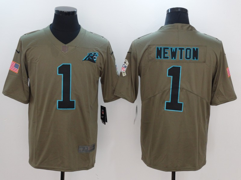 Men Carolina Panthers 1 Newton Nike Olive Salute To Service Limited NFL Jerseys