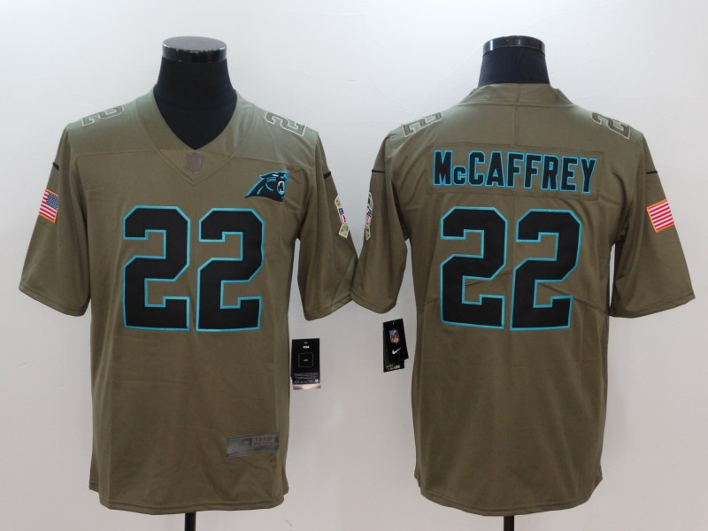 Men Carolina Panthers 22 Mccaffrey Nike Olive Salute To Service Limited NFL Jerseys