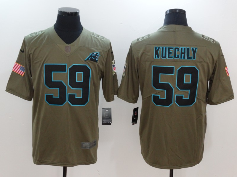 Men Carolina Panthers 59 Kuechly Nike Olive Salute To Service Limited NFL Jerseys