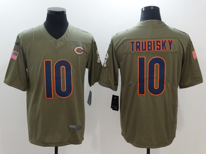 Men Chicago Bears 10 Trubisky Nike Olive Salute To Service Limited NFL Jerseys