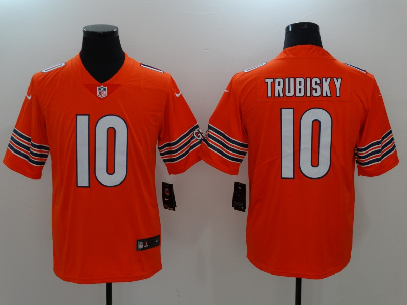 Men Chicago Bears 10 Trubisky Orange Nike Vapor Untouchable Limited NFL Jerseys