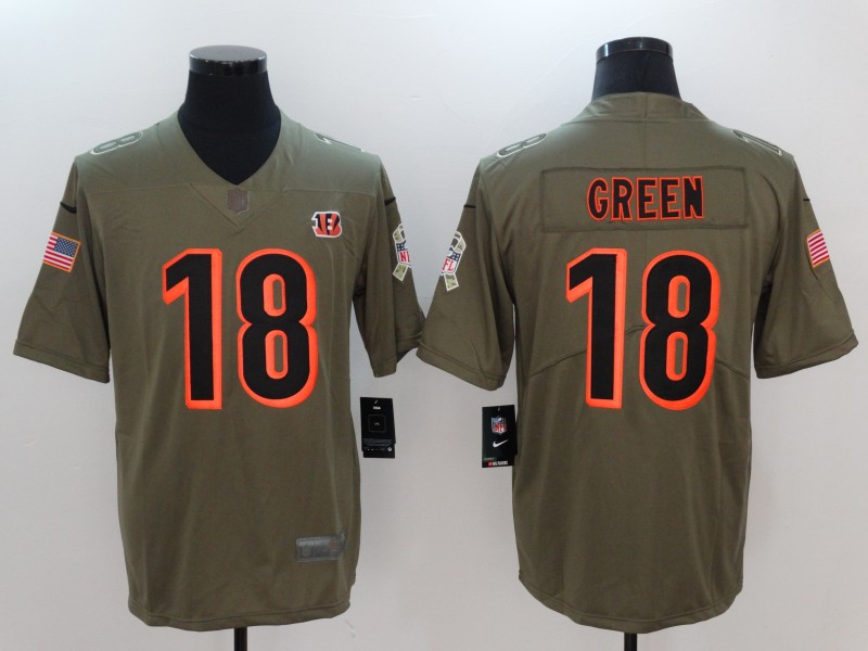Men Cincinnati Bengals 18 Green Nike Olive Salute To Service Limited NFL Jerseys