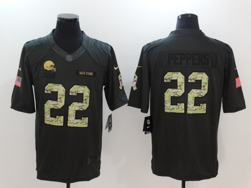 Men Cleveland Browns 22 Peppers Green Nike Salute To Service Limited NFL Jerseys