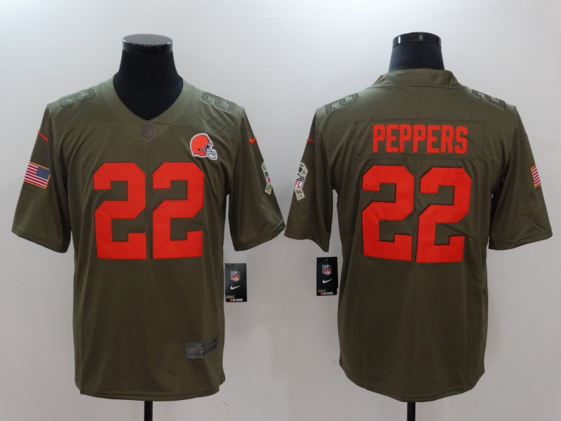 Men Cleveland Browns 22 Peppers Nike Olive Salute To Service Limited NFL Jerseys