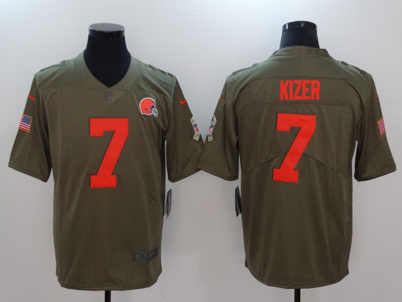 Men Cleveland Browns 7 Kizer Nike Olive Salute To Service Limited NFL Jerseys