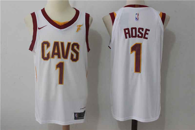 Men Cleveland Cavaliers 1 Rose White NBA Jerseys
