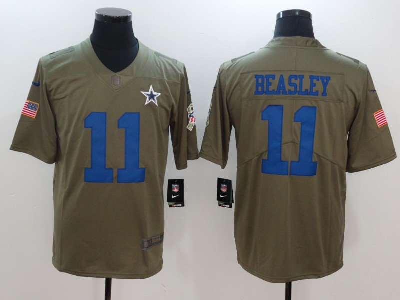 Men Dallas cowboys 11 Beasley Nike Olive Salute To Service Limited NFL Jerseys