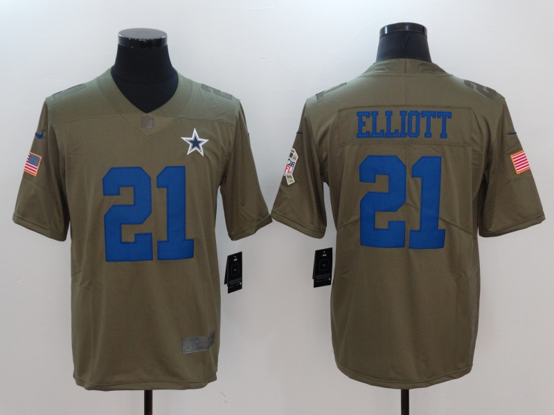 Men Dallas cowboys 21 Elliott Nike Olive Salute To Service Limited NFL Jerseys