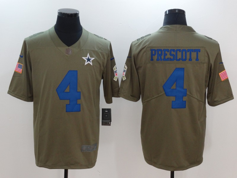 Men Dallas cowboys 4 Prescott Nike Olive Salute To Service Limited NFL Jerseys