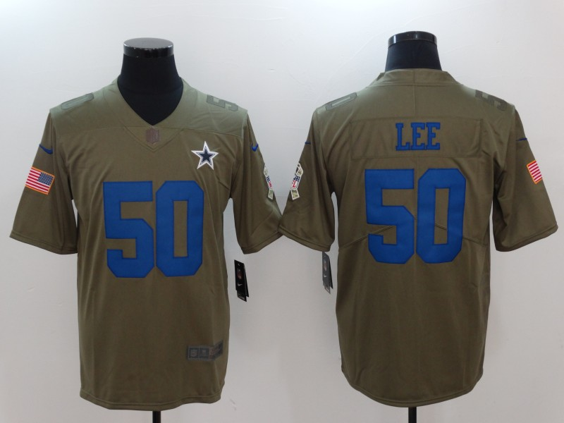 Men Dallas cowboys 50 Lee Nike Olive Salute To Service Limited NFL Jerseys
