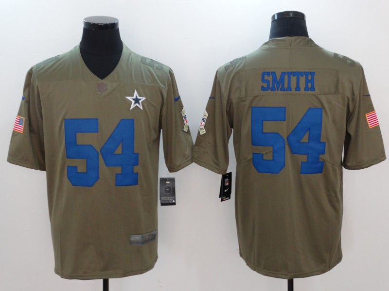 Men Dallas cowboys 54 Smith Nike Olive Salute To Service Limited NFL Jerseys