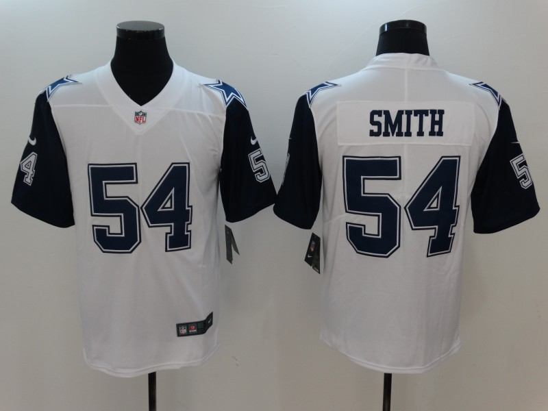 Men Dallas cowboys 54 Smith White Thanksgiving Nike Vapor Untouchable Limited NFL Jerseys