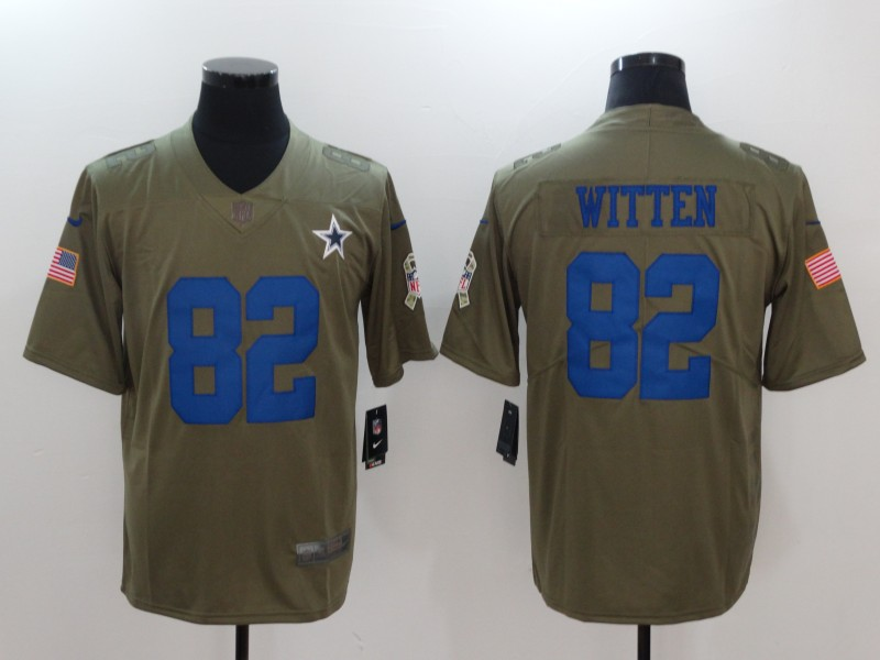 Men Dallas cowboys 82 Witten Nike Olive Salute To Service Limited NFL Jerseys