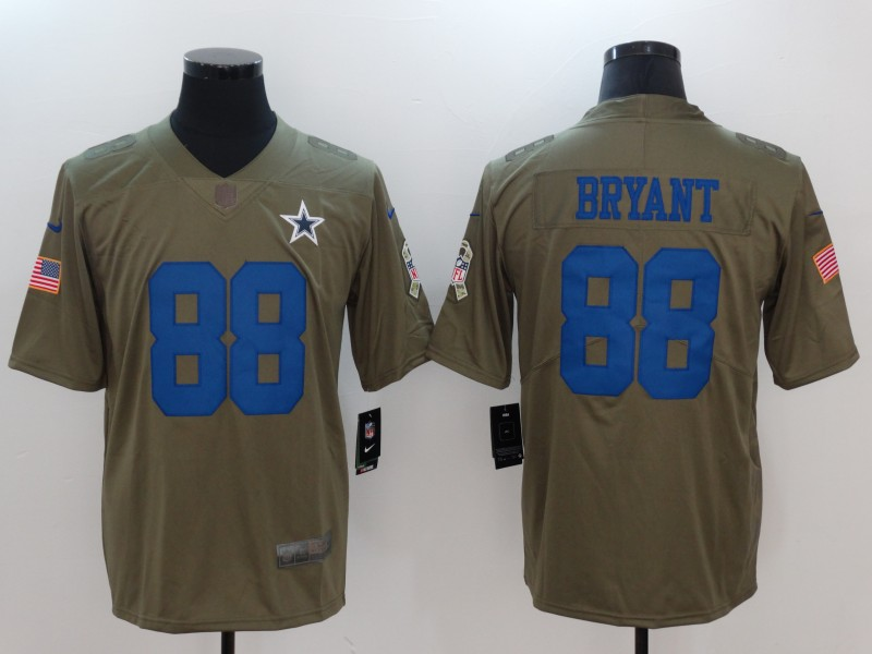 Men Dallas cowboys 88 Bryant Nike Olive Salute To Service Limited NFL Jerseys
