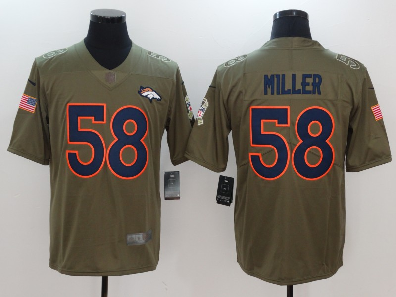 Men Denver Broncos 58 Miller Nike Olive Salute To Service Limited NFL Jerseys
