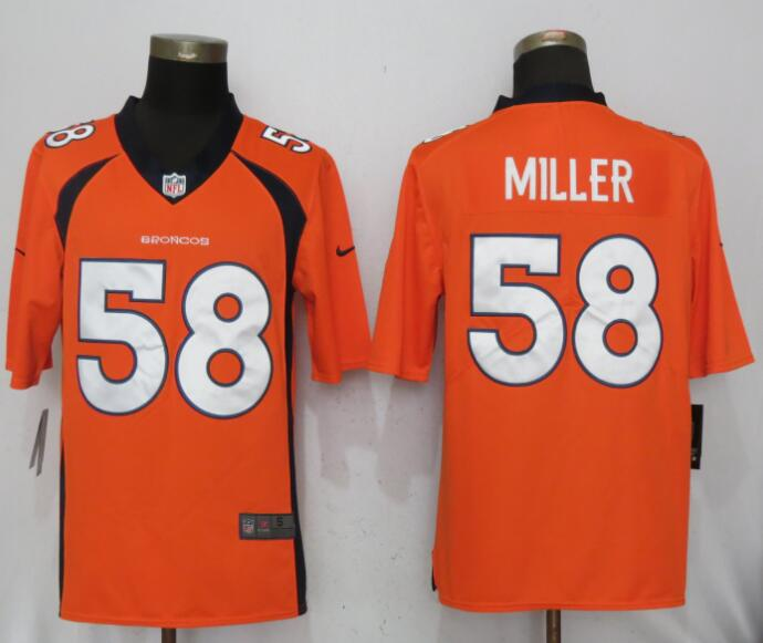 Men Denver Broncos 58 Miller Orange Nike Vapor Untouchable Limited NFL Jerseys
