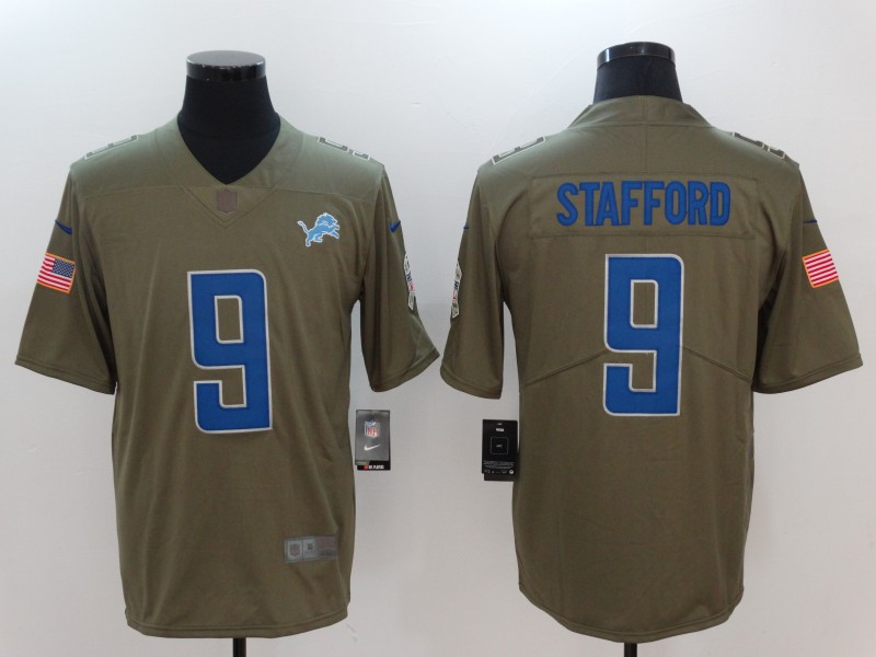 Men Detroit Lions 9 Stafford Nike Olive Salute To Service Limited NFL Jerseys