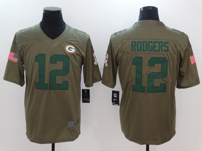 Men Green Bay Packers 12 Rodgers Nike Olive Salute To Service Limited NFL Jerseys