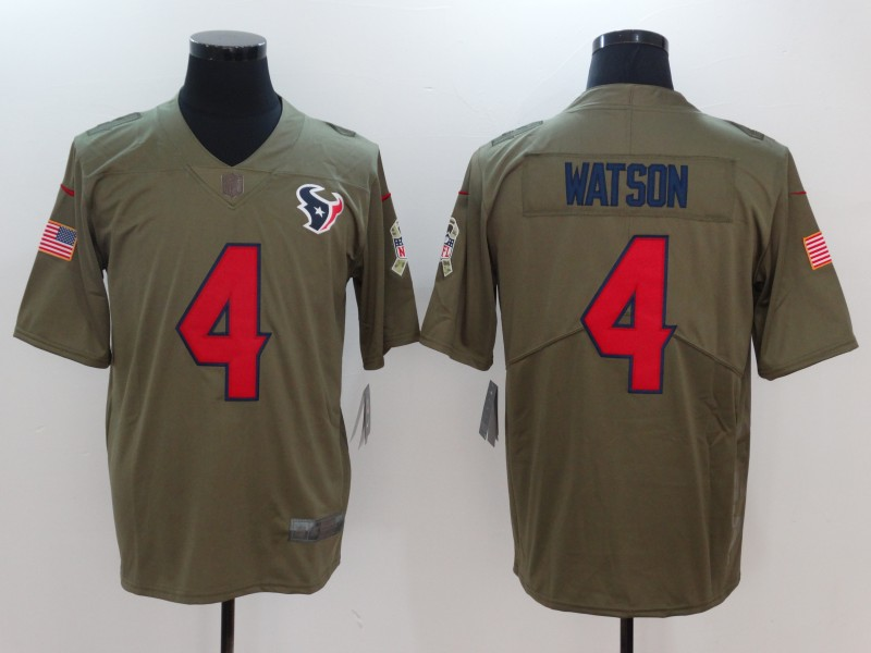 Men Houston Texans 4 Watson Nike Olive Salute To Service Limited NFL Jerseys
