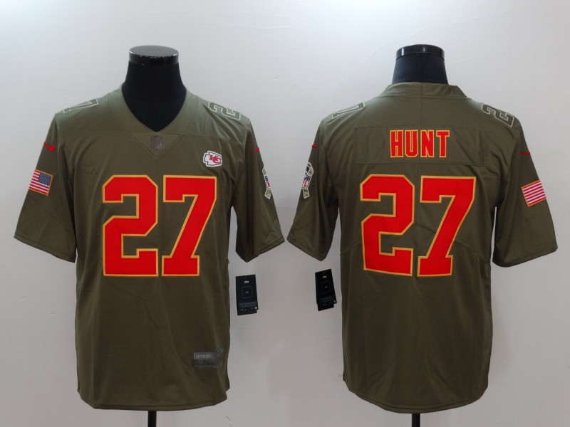 Men Kansas City Chiefs 27 Hunt Nike Olive Salute To Service Limited NFL Jerseys