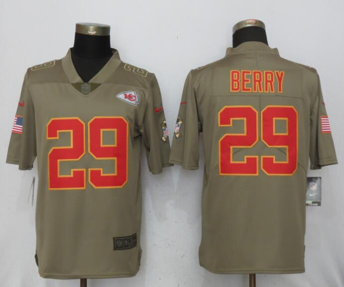 Men Kansas City Chiefs 29 Berry Nike Olive Salute To Service Limited NFL Jerseys