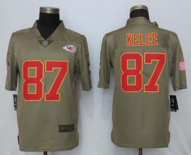 Men Kansas City Chiefs 87 Kelce Nike Olive Salute To Service Limited NFL Jerseys