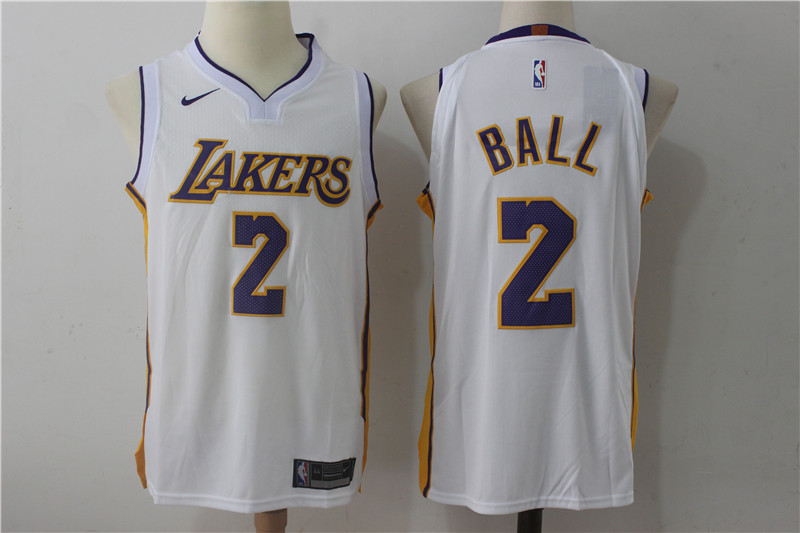 Men Los Angeles Lakers 2 Lonzo Ball White New Nike Season NBA Jerseys