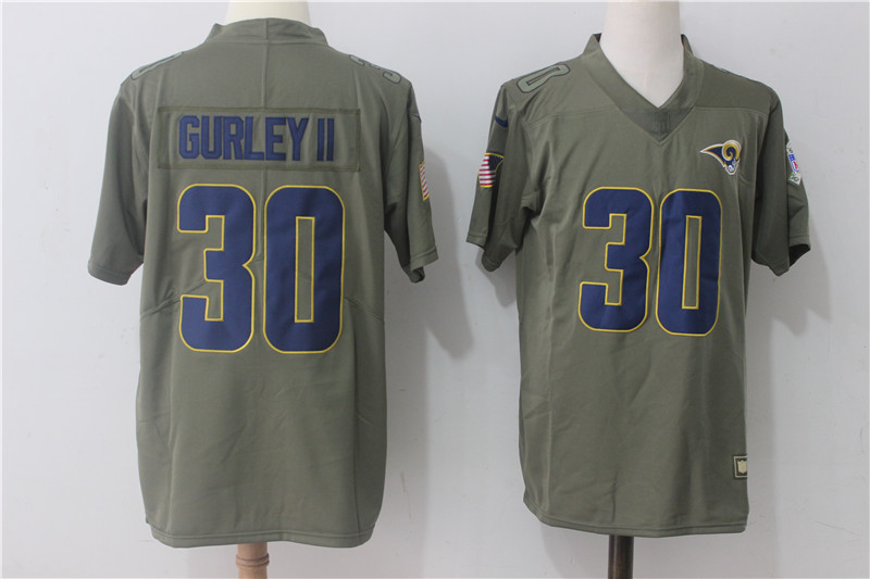 Men Los Angeles Rams 30 Gurley ii Nike Olive Salute To Service Limited NFL Jerseys